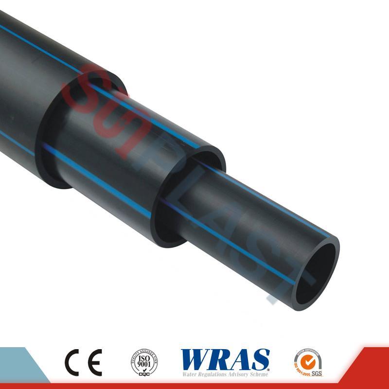 HDPE vamzdis (polietilinis vamzdis) juodos / mėlynos spalvos vandens tiekimui